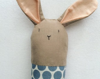 Polka Dot Bunny Rattle - Soft Baby Toy in Stone and Slate