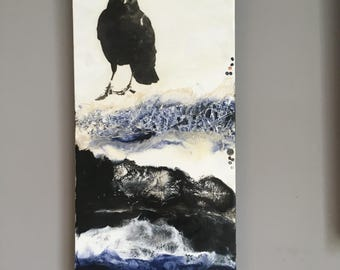 Original Encaustic Painting- Crow