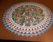 Crocheted, Easter Doily, Tulips, Rabbits, Easter Eggs, 20Inch, Fabric Doilies, Handmade, Blue Table Topper, Centerpiece, Crocheted Edge Gift