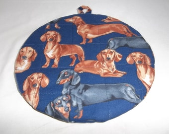 Dachshund Dog, Doxie, Quilted Pot Holders, Potholders, Dog Hot Pad, Trivet, Double Insulated, Round, Cotton Fabric, 9 Inches, Hostess Gift