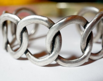 Silver Ring Bracelet, Unisex Heavy Cuff Bracelet, For Woman or Man