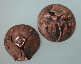 2 Antique Edwardian Brass Brooches