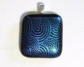 Swirls Fused Glass Pendant Dichroic Black Teal Green Blue Purple Matte finish