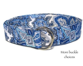 Blue Belt / Women's D-ring Belt / Blue and White Paisley Fabric Belt / Wide Belt Skinny Belt / Waist Belt / XS to Plus Size Belt