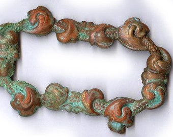 vintage VERDIGRIS brass frame stamping frame shape from the DUNGEON with RUST oldness various finishes and patina some better some worse
