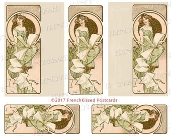 Alphonse Mucha Art Nouveau Lady With Book of Flying Pages 8x10 Digi Page French Postcard Instant Download