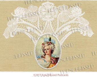 Marie Antoinette Style Marquise Surrounded by Lace Luxury Antique European Postcard Digital Download