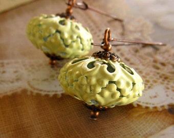 Moroccan earring, yellow earrings on kidney ear wire. Summer earrings, pastel yellow, boho earrings / Bohemian jewelry