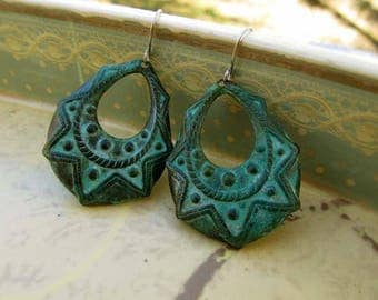 green earrings - Boho earrings - rustic hoop earrings - Patina Bohemian jewelry