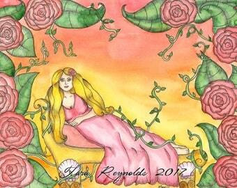 Goddess Art Goddess Aphrodite Original Watercolor Painting Goddess Pagan Art Fantasy Greek Goddess Sacred Feminine Art Spiritual Art Altar