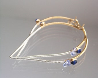 Mixed Metal Wire Wrapped Hoops, Kyanite and Blue Sapphire 14k Gold Filled Earrings, Lightweight Sculptural Sterling Dangles, Original Design