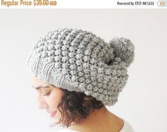 20% WINTER SALE Light Gray Slouchy Hat with Pon Pon by Afra
