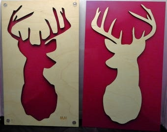 Deer SET of 2 from Plywood and Recycled Aluminum in red