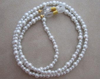 white pearl gold eyeglass chain holder