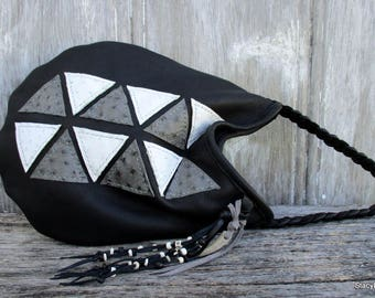 Geometric Triangle - Black Deerskin Leather - Shoulder Bag - with Genuine Ostrich - by Stacy Leigh