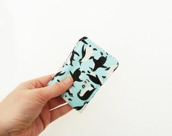 Card case, penguins, light blue penguin fabric, cotton case