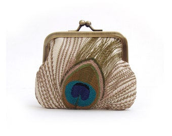 Peacock feather coin purse, mini pocket pouch, ivory embroidered silk, teal bird feather, gift box