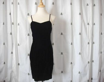 VaVaVoom Vintage Black Velvet Dress, Spaghetti Straps, 1980s, Prom, Small, By Choice, Back Slit