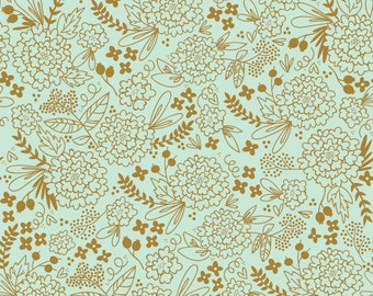 On Trend Floral Mint Sparkle Metallic - On Trend collection from Riley Blake - fabric by the quarter yard cut continuously