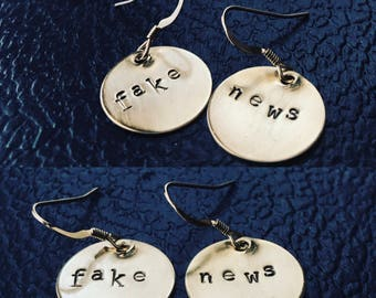 FAKE NEWS or your custom engraved words bronze sterling silver stamped earrings
