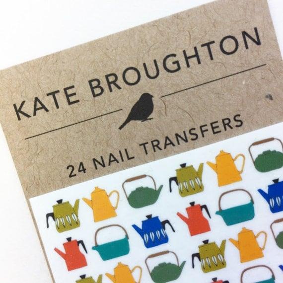 tea pot nail transfers - illustrated nail art decals - retro teapot stickers