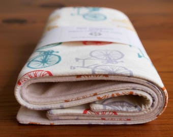 Bicycle Burp Cloths; Bike Burping Rags; Organic Cotton Burping Cloths; Handmade Baby Shower Gift for Nursing Mom, Cycling Parents; Bike It