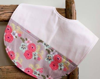 Floral Toddler Bib, Pink and Gray Feeding Bib, Organic Cotton Reversible Bib, Flowers Highchair Baby Bib Present, Handmade in Canada, Flora