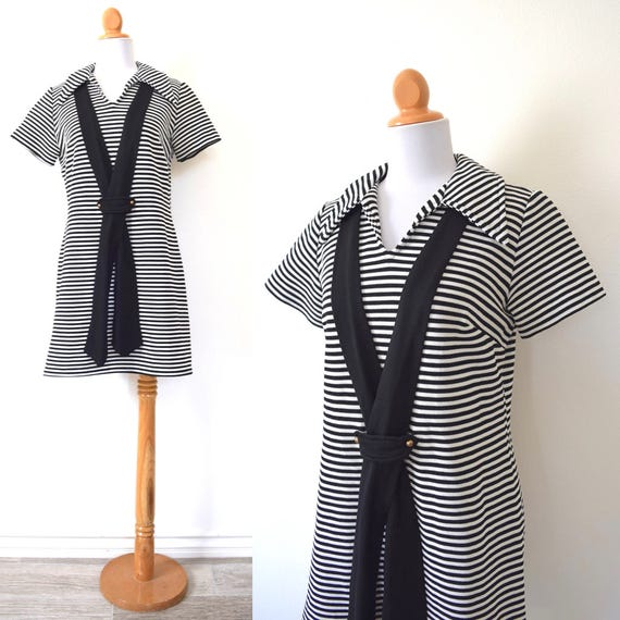 SUMMER SALE/ 30% off Vintage 60s 70s The Brig Black and White Striped Sailor Dress (size medium, large)