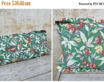 ON SALE 20% Vintage Antique old French 1930 /30s faded colors cotton fabric  pillow Floral