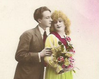 Antique 1910/1920 postcard  French real photo recolored couple/lovers/Valentine