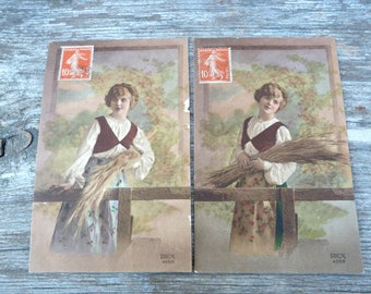 Vintage Antique 1900 /1910 set of 2 postcards /old French / recolored