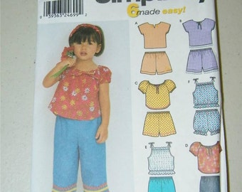 Simplicity Girls Shorts Blouse Capris Pattern 9603 Size 1/2 - 4 12641