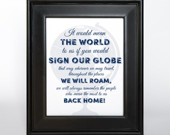 Sign our Globe Printable DIY Wedding Decor 8x10 and 11x14 Guest Book Alternative Sign Navy Ink