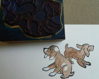 French Vintage Educational Rubber Stamps - rubber stamp puppies -  puppy - dogs