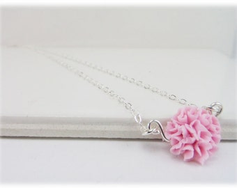 Tiny Carnation Necklace - Carnation Jewelry, January Birthday Birth Flower