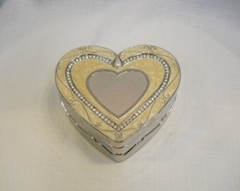 Vintage 1990s 90s Trinket Box Heart Box Swarovski Crystal Box Heart Shape Box Jewerly Box 90s Accessories Vanity Box Stash Box Ivory Box