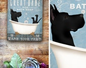 Great Dane Dog bath soap Company dog artwork on gallery wrapped canvas by Stephen Fowler