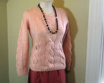 Cable Knit 70s Coral mohair sweater V neck pullover 70s Vintage Mohair sweater Peach wool sweater fuzzy Peach pullover  S M