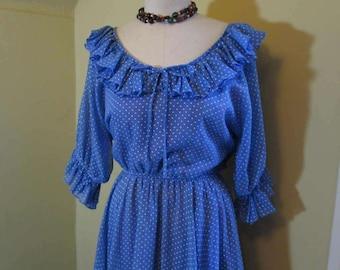 Blue Polka Dot 70s Vintage Peasant Dress Ruffle collar Boho peasant Dress sheer blue cotton dress Full ruffled skirt M