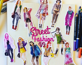 V2 Street Fashion girls STICKERS (set of 11) fashion illustration, watercolor drawing, planner decoration, hobonichi