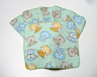 Cloth Baby Wipes Set of 6 2 Ply Flannel Basic Cloth Diaper Wipes Puffy Baby Animal Reusable Flannel Wipes, Family Cloth Soft and Scrubby