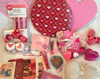 Valentine's Day Treasure Tin Filled with Vintage and New Paper Crafting Goodies and Decor - A Beautiful Assortment - A Sweet Gift