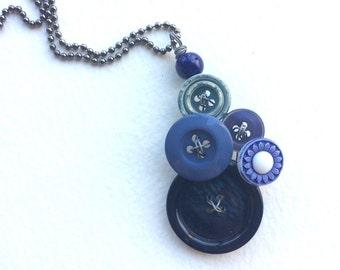 Blues Vintage Button Pendant Necklace