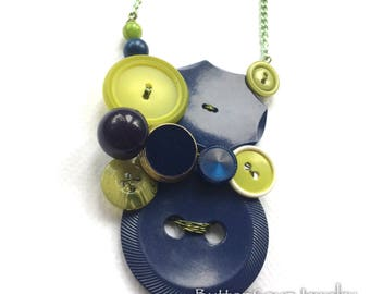 Midnight Blue and Lime Vintage Button Necklace Chunky Fashion Jewelry