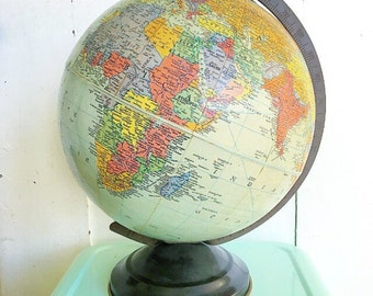 "As The World Turns... Vintage World Scholar Replogle Precision Globe 10"" Tin Base 1940's Map"