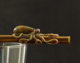 ON SALE BOGO 50% off Octopus Glass Straw Hand Blown in Amber & Oil Slick, Ready to Ship #225