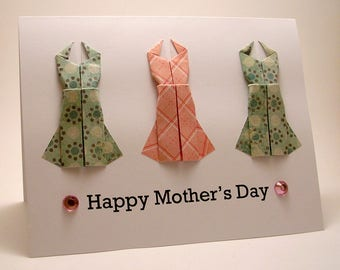 CLEARANCE Origami Dress Mother's Day Card (light teal pink)