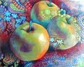 Original Kunst-Farbe-Bleistift Zeichnung, grüner Apfel Zentangle Wand Dekor abstrakt Verkauf 8 x 10