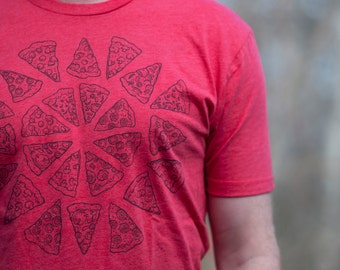 Pizza shirt screenprinted tee Red