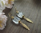 Quartz crystal earrings // long brass feather detail // beautiful natural faceted quartz stone // nickel free// E065